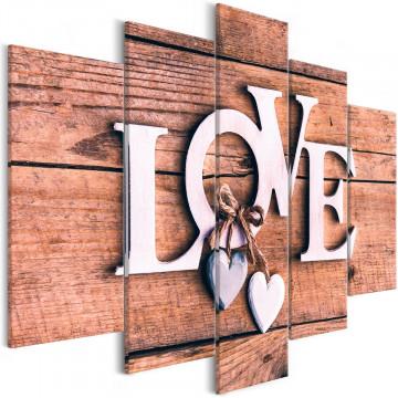 Tablou - Wooden Letters (5-Parts) Wide