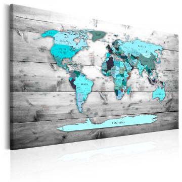 Tablou - World Map: Blue World