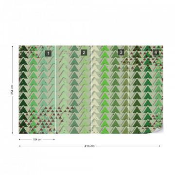 Triangle Pattern Green Photo Wallpaper Wall Mural