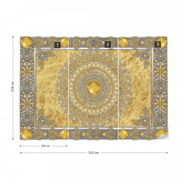 Tribal Pattern Yellow Photo Wallpaper Wall Mural