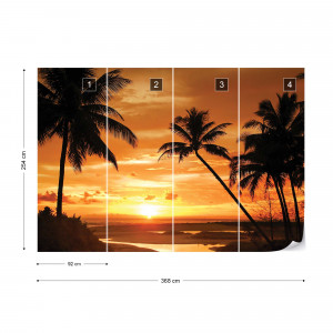 Tropical Sunset Silhouette Photo Wallpaper Wall Mural