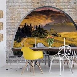 Tuscan Landscape Window View Photo Wallpaper Wall Mural