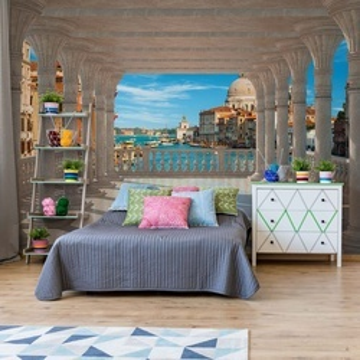 Venice 3D View Through Columns Photo Wallpaper Wall Mural