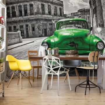 Vintage Car Cuba Havana Green Photo Wallpaper Wall Mural