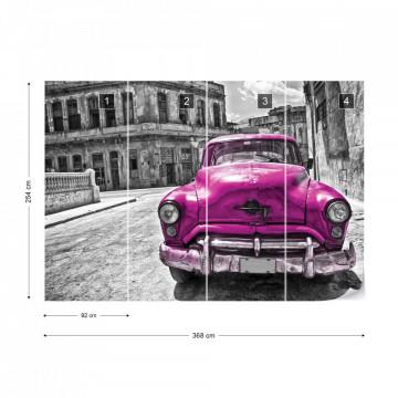 Vintage Car Cuba Havana Pink Photo Wallpaper Wall Mural