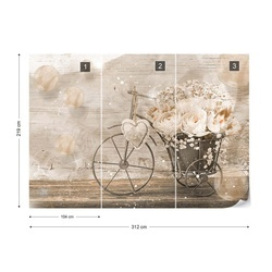 Vintage Chic Bicycle Flowers Photo Wallpaper Wall Mural