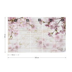 Vintage Chic Cherry Blossom Wood Planks Photo Wallpaper Wall Mural
