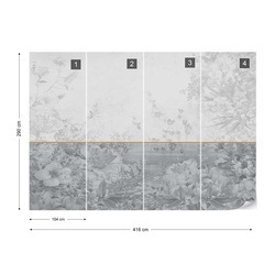 Vintage Chic Floral Grey Design Photo Wallpaper Wall Mural