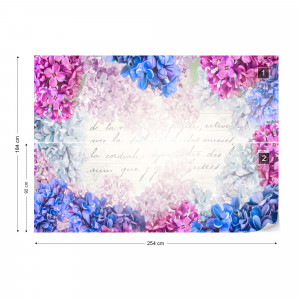 Vintage Floral Design With Script Photo Wallpaper Wall Mural