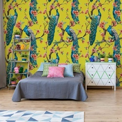 Vintage Peacock Pattern Yellow Photo Wallpaper Wall Mural