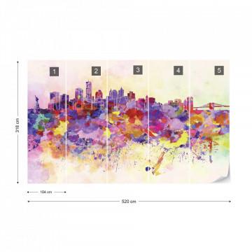 Watercolour City Skyline Photo Wallpaper Wall Mural
