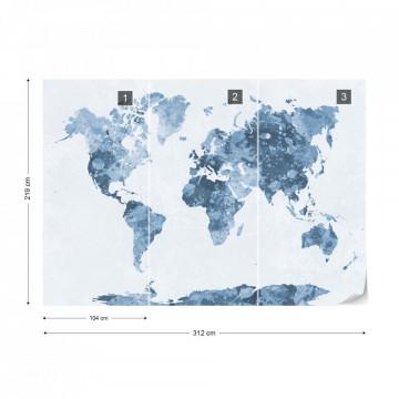 Watercolour World Map Grey