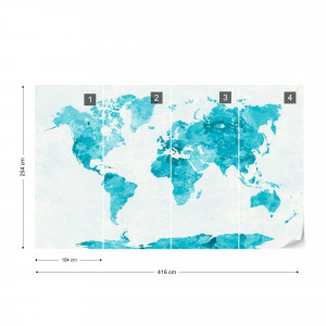 Watercolour World Map Turquoise