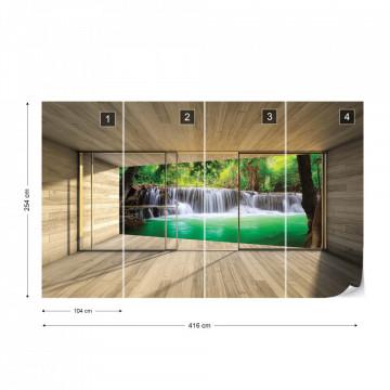 Waterfall Forest 3D Modern Window View Photo Wallpaper Wall Mural