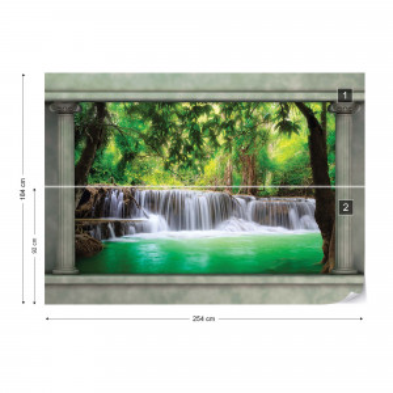 Waterfall Forest Roman Column View Photo Wallpaper Wall Mural