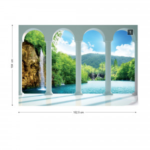 Waterfall Lake Forest 3D Archway View Photo Wallpaper Wall Mural