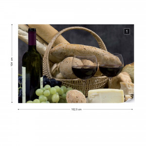 Wine And Bread Photo Wallpaper Wall Mural