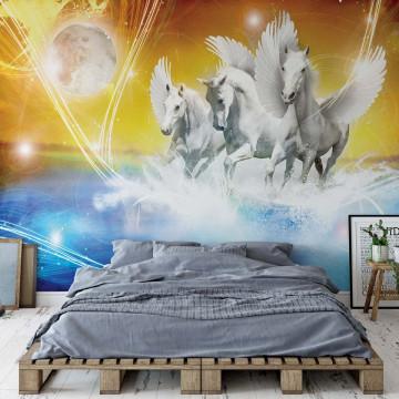Winged Horses Pegasus Yellow And Blue Photo Wallpaper Wall Mural