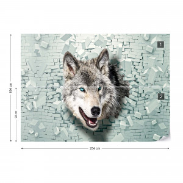 Wolf 3D Bursting Through Brick Wall Photo Wallpaper Wall Mural