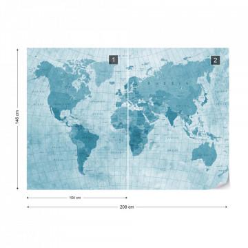 World Map Textured Blue