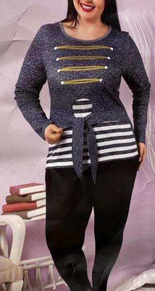 Set bluza si pantalon motiv marinar