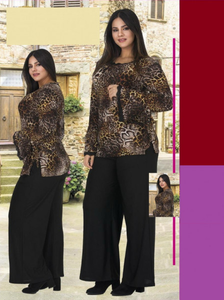 Compleu dama bluza Animal Print si pantaloni negri -