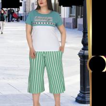 Compleu dama - bluza si pantalon - masura mare bluza alb cu verde pt masura 46-48