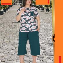 Compleu dama - bluza si pantalon - masura mare bluza motiv floral pt masura 46-48