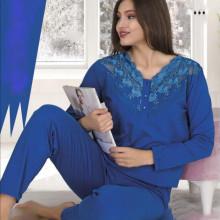 Pijama dama albastra bluza si pantaloni .