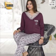 Pijama dama grena bluza grena si pantaloni cu model.