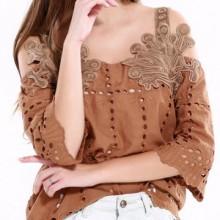 Bluza vintage brodata din bumbac