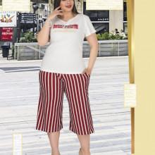 Compleu dama - bluza si pantalon - masura mare bluza alba si pantaloni cu dungi pt masura 46-48