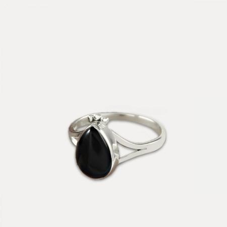 inel de argint cu onix negru lacrimă