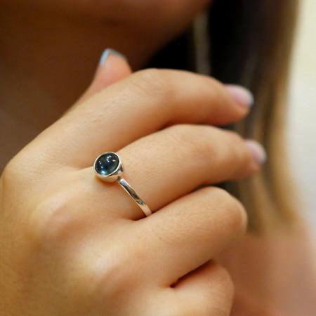 inel argint agata albastra