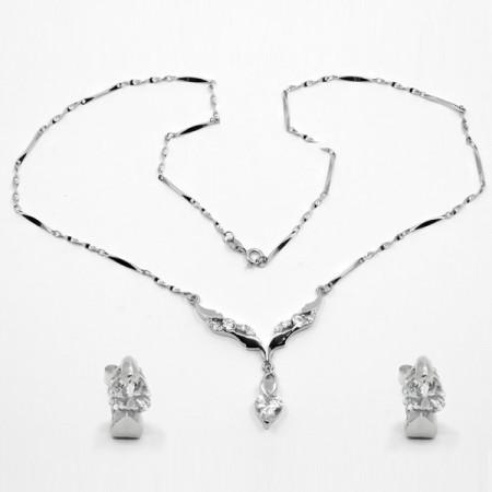 Set cercei și colier de argint cu zircon alb