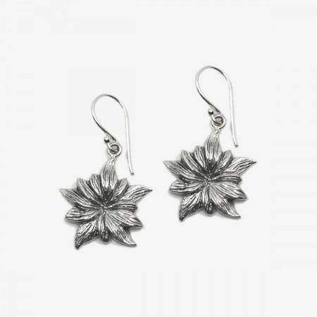 Cercei de argint brumat cu floare de colt Edala