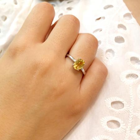 inel argint cu citrin fațetat
