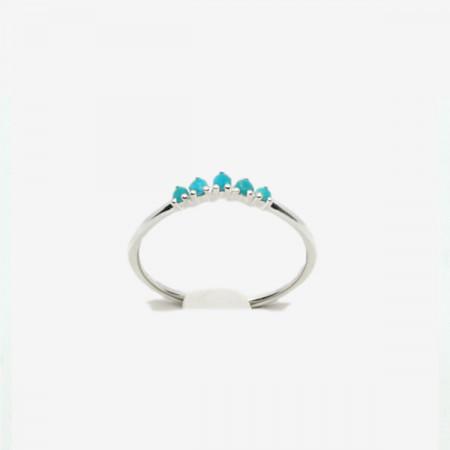 Inel de argint cu cinci pietre de turcoaz