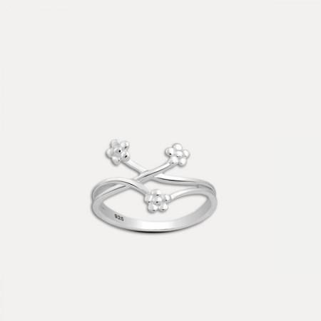 inel de argint  trei flori