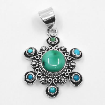 pandantiv de argint cu turcoaz tibetan India