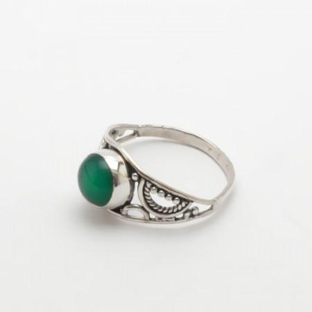 inel de argint cu onix verde, delicat
