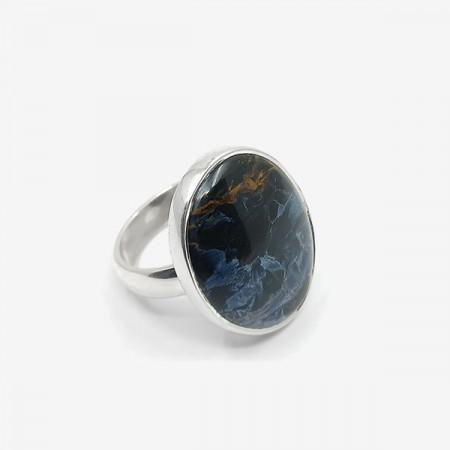 inel de argint cu pietersit (piatra furtunii)