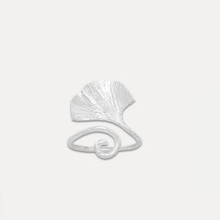 Inel de argint frunza ginkgo biloba