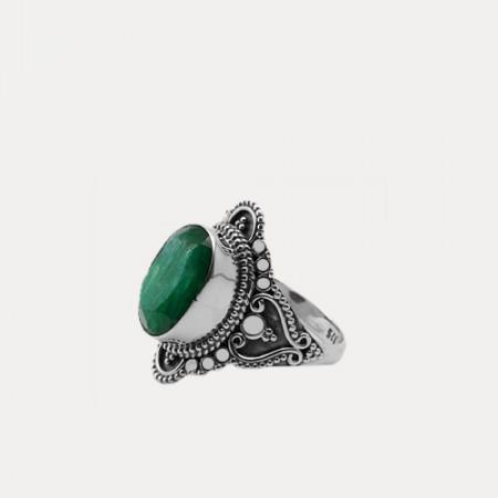 inel argint cu smarald
