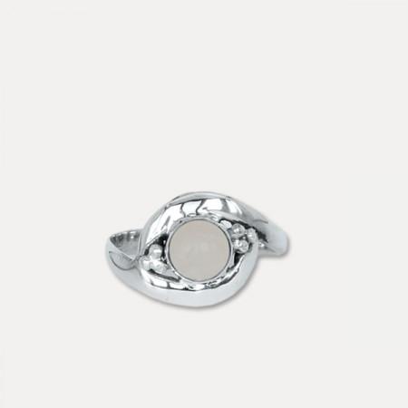 inel de argint cu cuarț roz