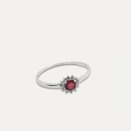 inel de argint cu rubin si zirconii