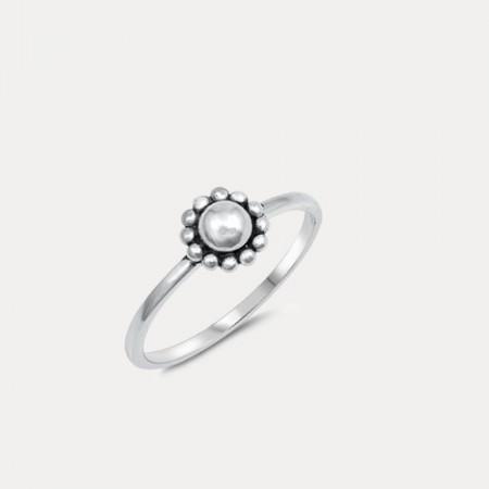 Inel de argint patinat Flower Power