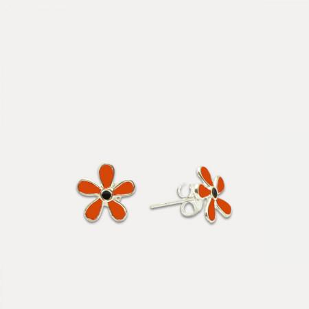 Cercei de argint cu petale de flori colorate