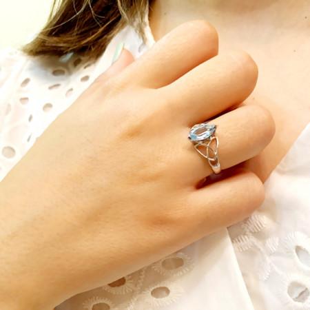 Inel argint cu topaz fațetat