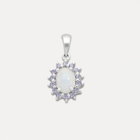 Pandantiv de argint cu opal și tanzanit